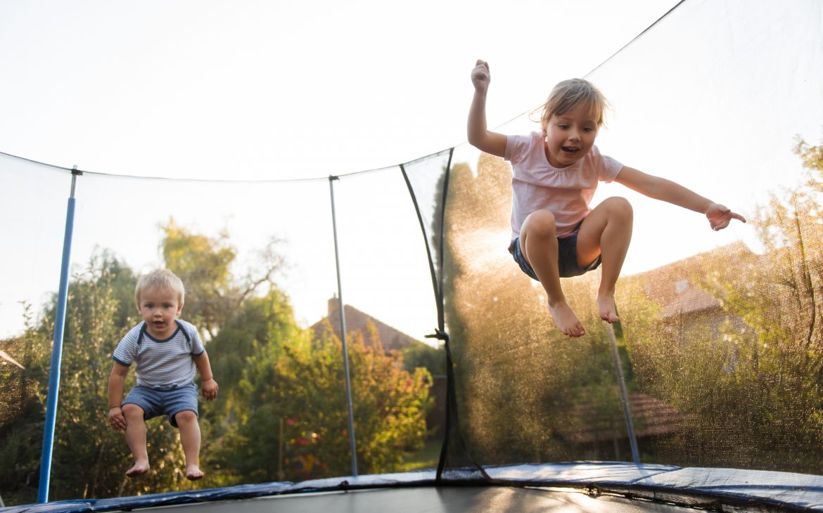kids on a Trampoline bouncing